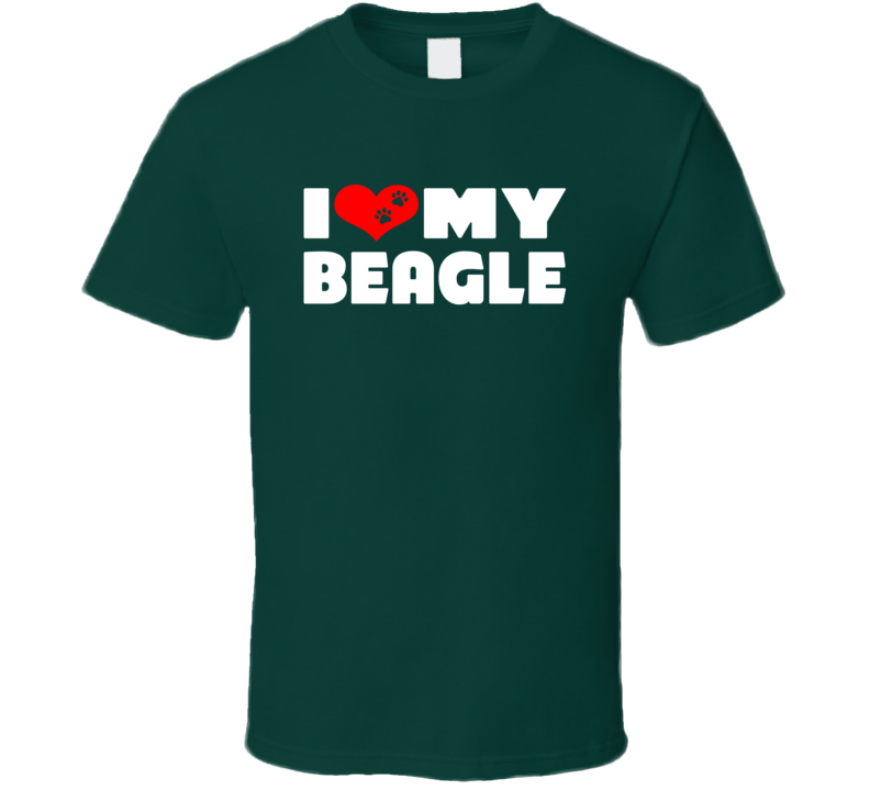 I Love My Beagle Dog Paws Heart T Shirt