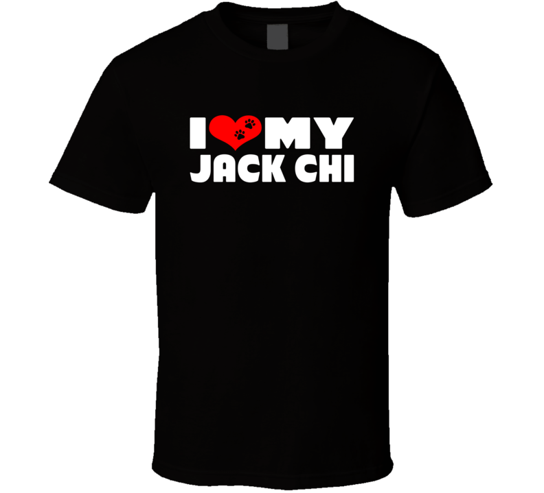 I Love My Jack Chi Dog Paws Heart T Shirt