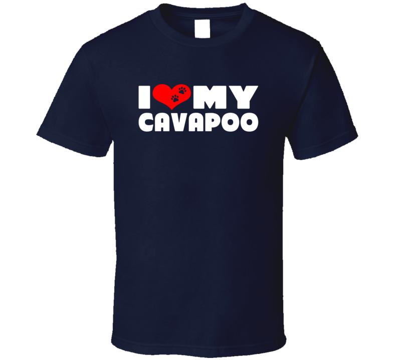 I Love My Cavapoo Dog Paws Heart T Shirt