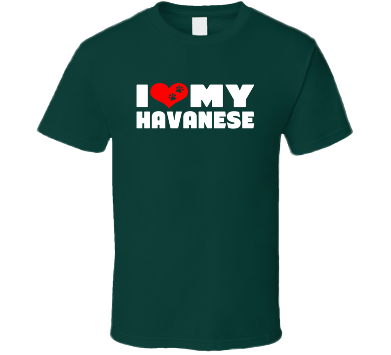 I Love My Havanese Dog Paws Heart T Shirt