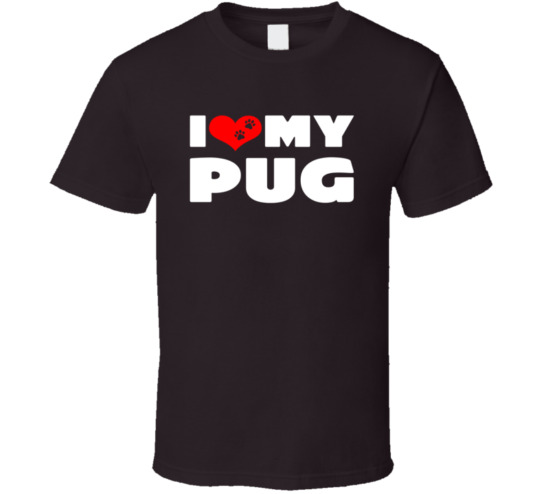 I Love My Pug Dog Paws Heart T Shirt