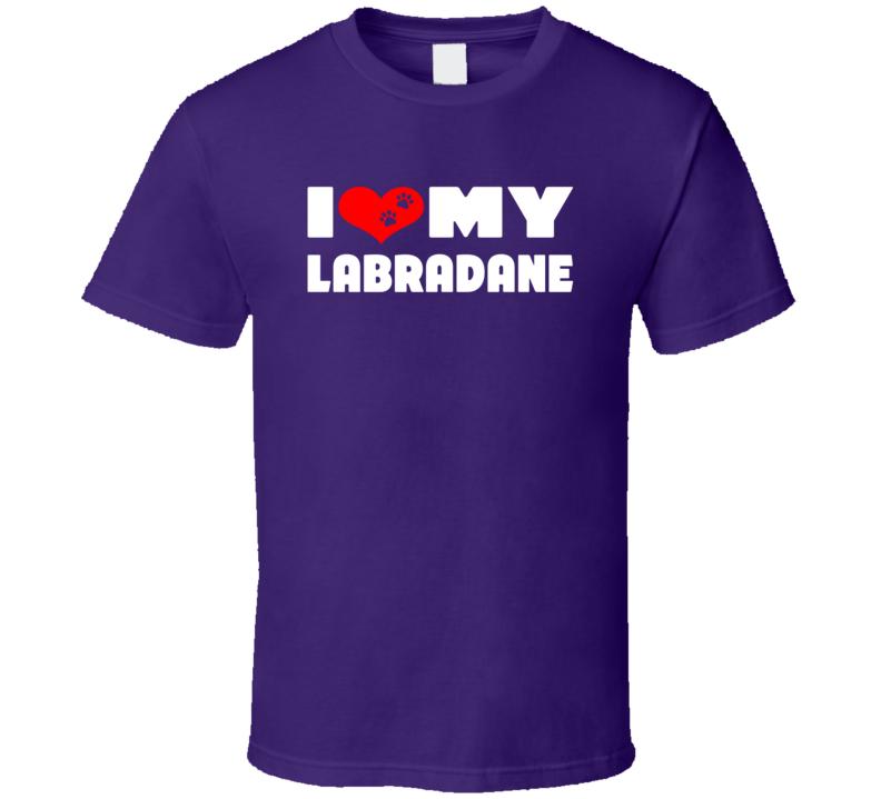 I Love My Labradane Dog Paws Heart T Shirt