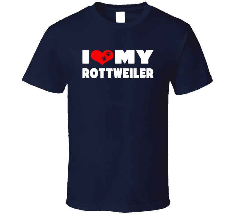 I Love My Rottweiler Dog Paws Heart T Shirt
