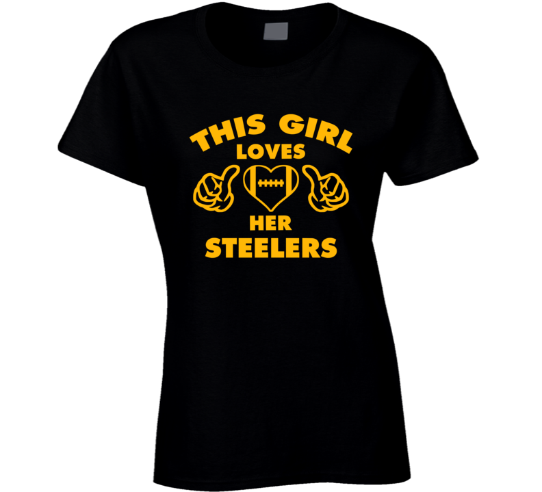 This Girl Loves Her Steelers Football Heart T Shirt