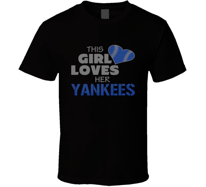 This Girl Loves Yankees Baseball Heart  T Shirt