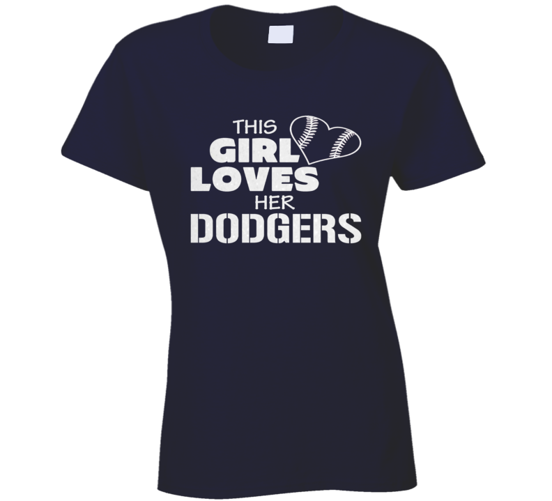 This Girl Loves Her Dodger Glitter Bling Baseball Heart T Shirt