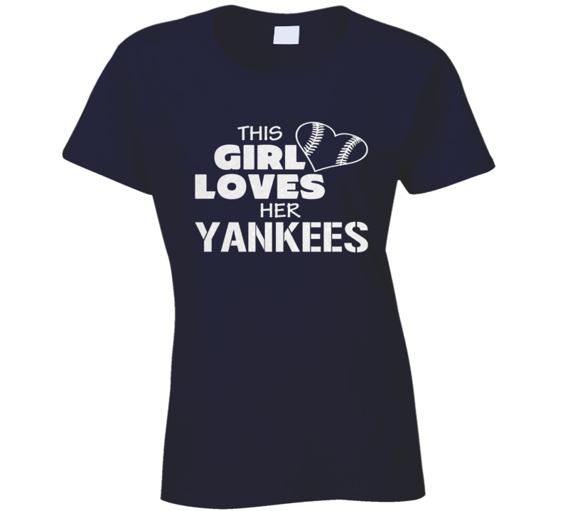 This Girl Loves Her Yankees Glitter Bling Baseball Heart T Shirt