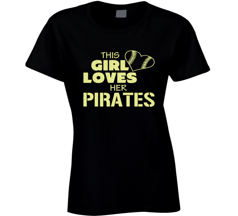 This Girl Loves Her Pirates Glitter Bling Baseball Heart T Shirt