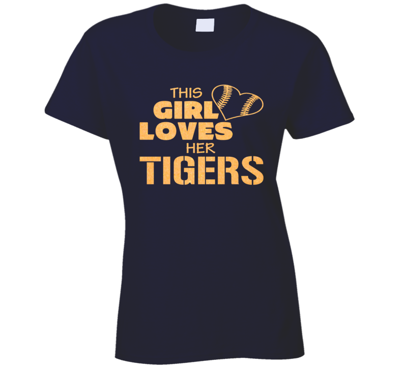 This Girl Loves Her Tigers Glitter Bling Baseball Heart T Shirt
