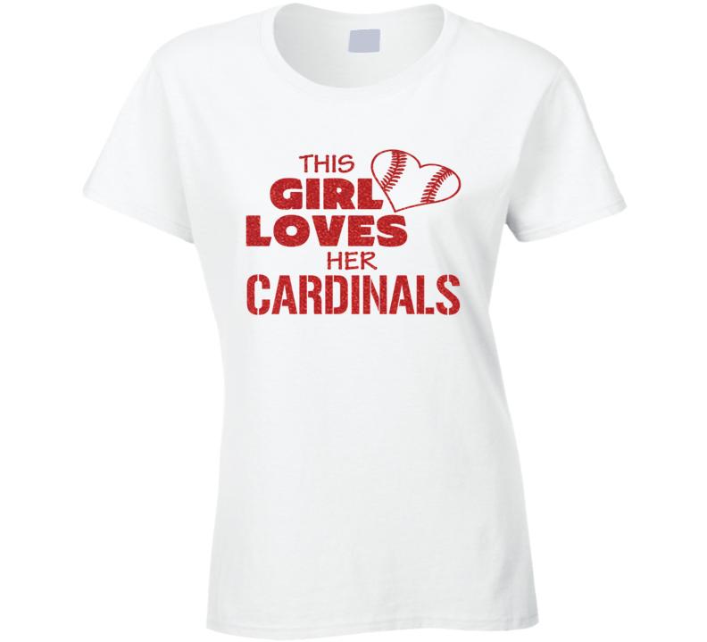 This Girl Loves Her Cardinals Glitter Bling Baseball Heart T Shirt