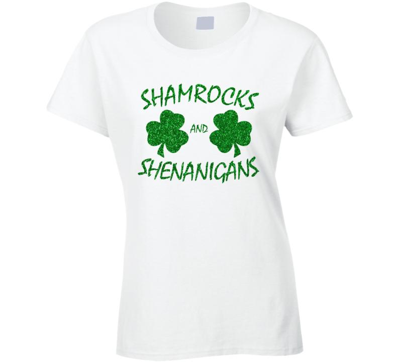 Shamrocks And Shenanigans Glitter Bling Saint Patrick's Day T Shirt