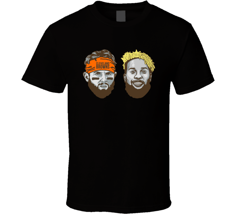 Odell Beckham Baker Mayfield Cleveland Browns Jumbo Heads Football T Shirt