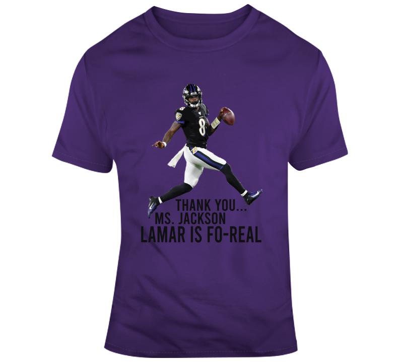 Lamar Jackson Quarterback Mvp Thank You Ms Jackson Funny Football T Shirt