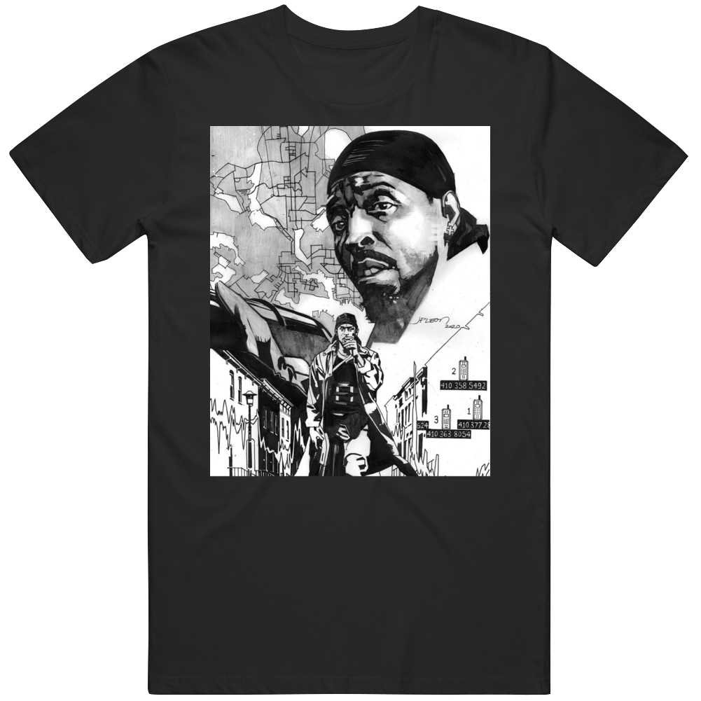 Omar Little The Wire City Scape Tribute T Shirt