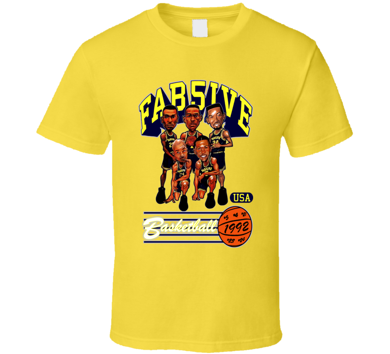 Fab Five Michigan Basketball Caricature T Shirt - Yellow