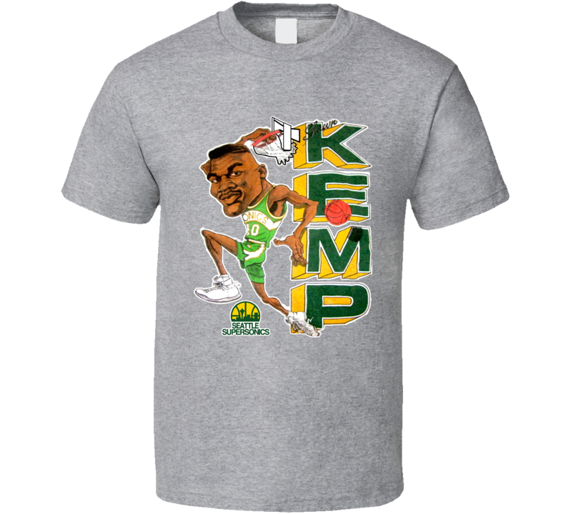 Shawn Kemp Seattle Retro Basketball Caricature T Shirt