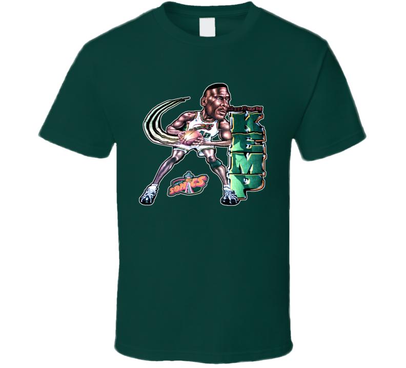 Shawn Kemp Seattle Caricature Basketball T Shirt