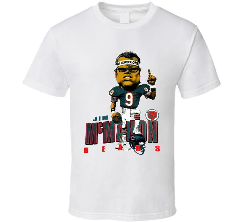 Jim McMahon Retro Chicago Football Caricature T Shirt