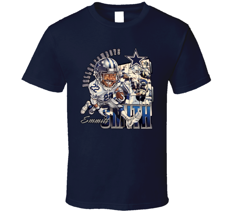 Emmitt Smith Classic Caricature Football T Shirt
