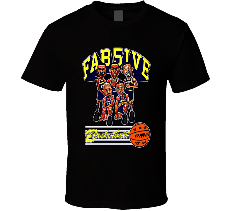 Fab Five Michigan College Basketball Caricature T Shirt - Black