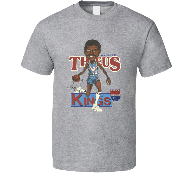 Reggie Theus Retro Baseketball Caricature T shirt