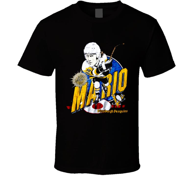 Mario Lemieux Retro Hockey Caricature T Shirt