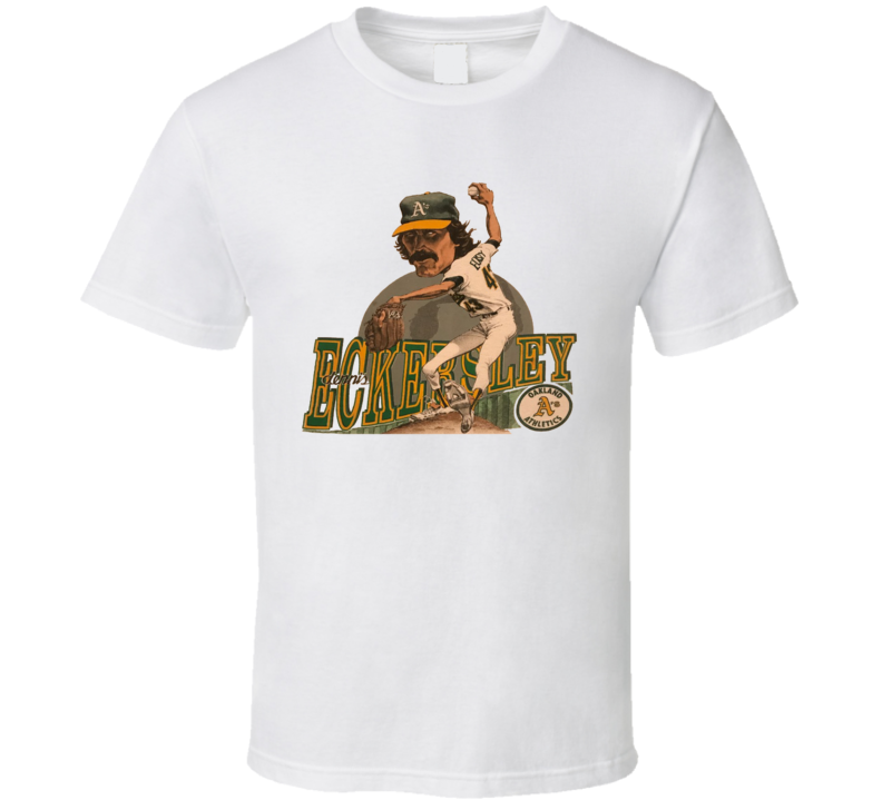 Dennis Eckersley Retro Baseball Caricature T Shirt - White