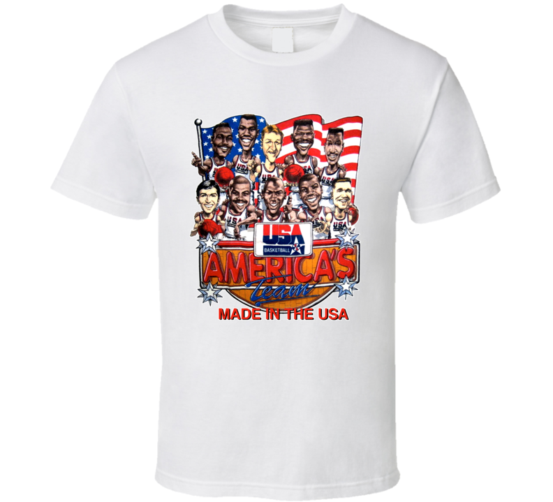 Usa Dream Team 1992 Basketball Caricature White T Shirt