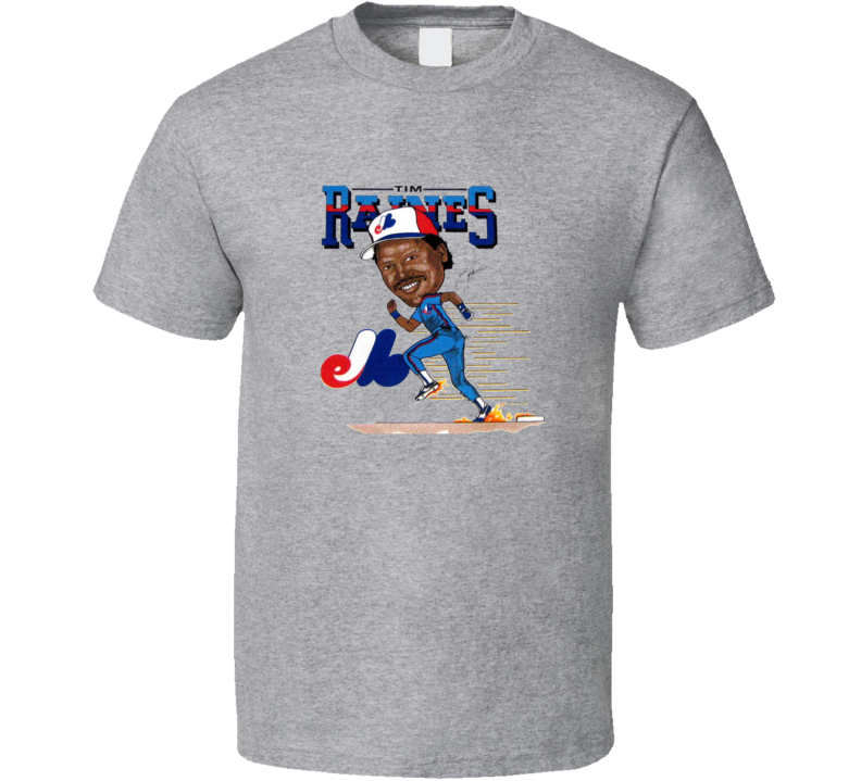 Tim Raines Montreal Baseball Retro Caricature T Shirt