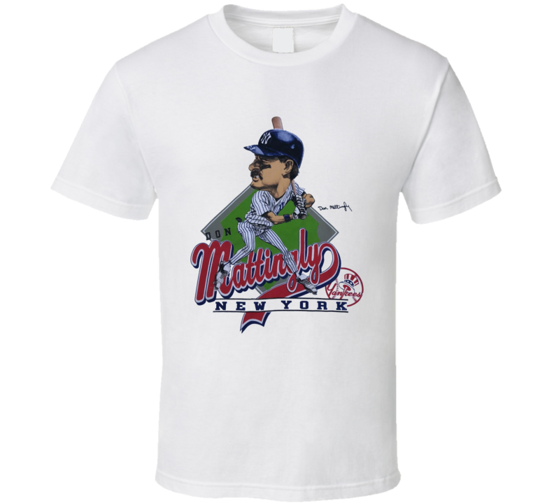 Don Mattingly Retro Baseball 80's Caricature T Shirt