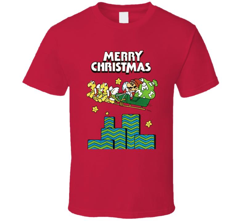 Super Mario Merry Christmas Retro Theme T Shirt