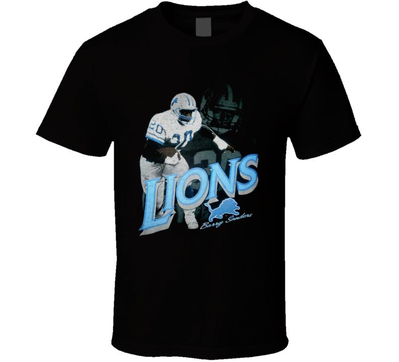 Barry Sanders Retro Detroit Football T Shirt