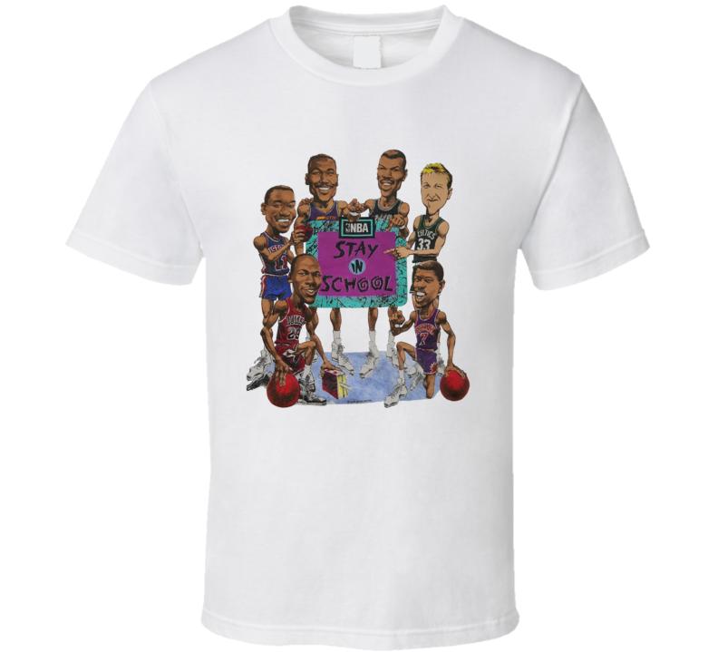 Nba Stay In School Psa Jordan Bird Basketball Caricature T Shirt