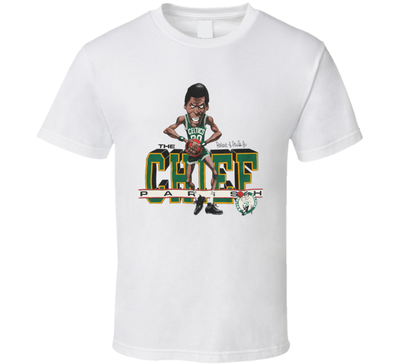 Robert Parish Boston Legend Retro Basketball Caricature T Shirt