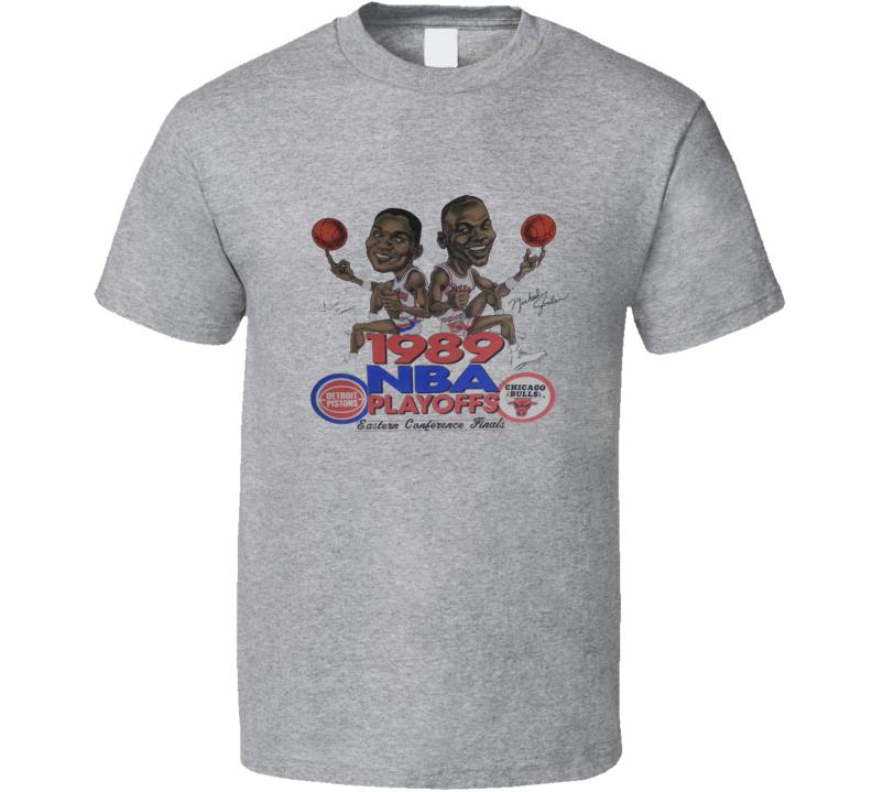 Michael Jordan Vs Isiah Thomas 1989 Retro Basketball Playoffs Caricature T Shirt