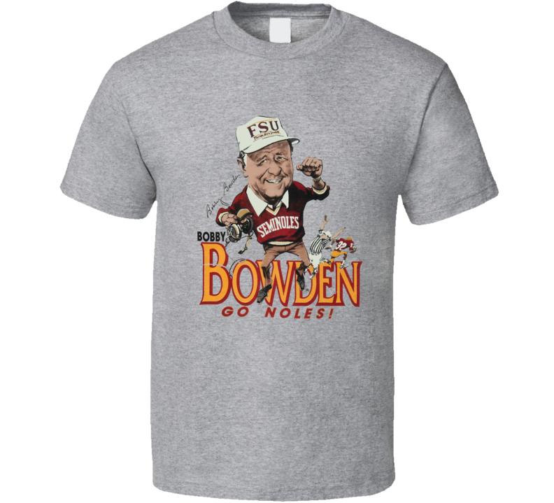 Bobby Bowden Florida Fsu Coach College Football Retro Caricature T Shirt