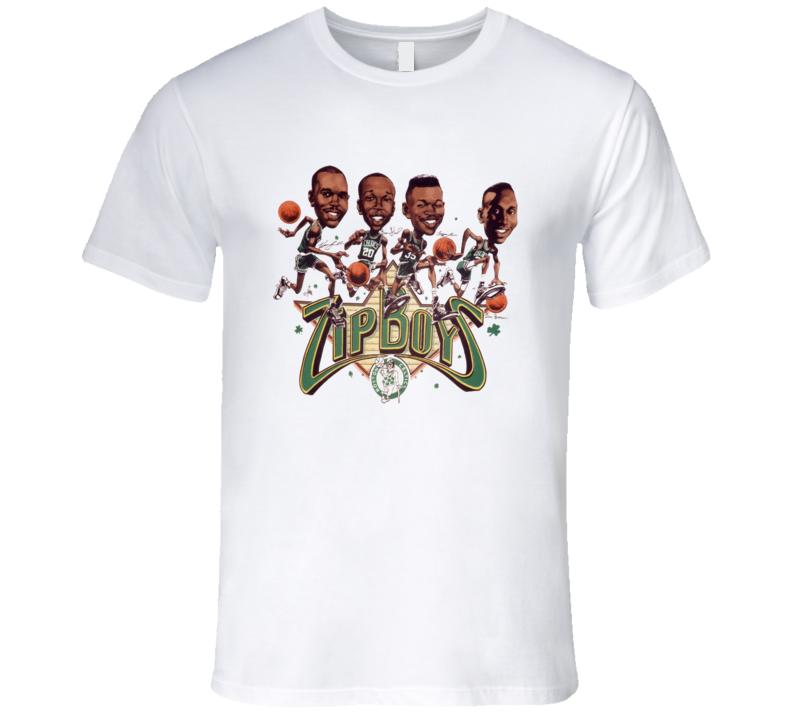 Boston Basketball Zip Boys Retro Caricature T Shirt