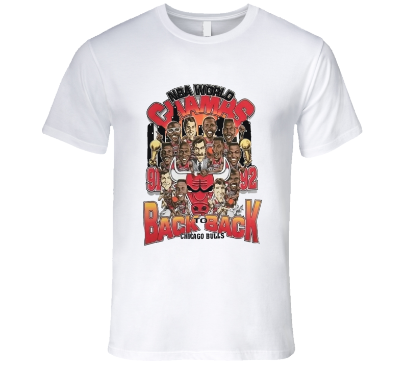 Chicago Basketball Back To Back Champions Jordan Pippen Caricature T Shirt