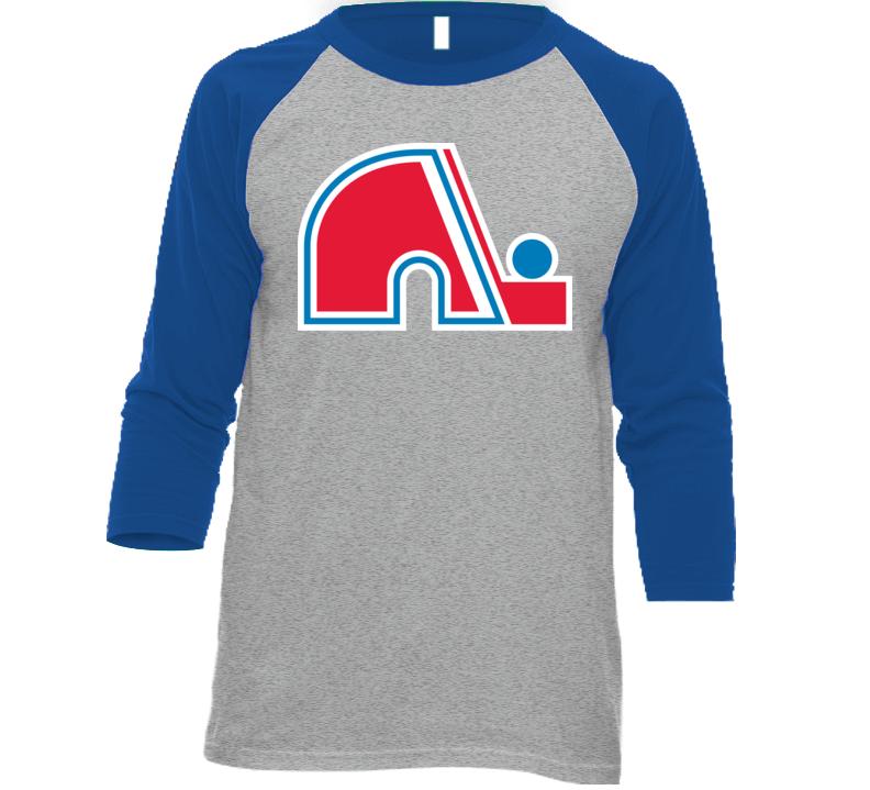 Quebec Nordiques Hockey Team Logo Baseball Raglan T Shirt