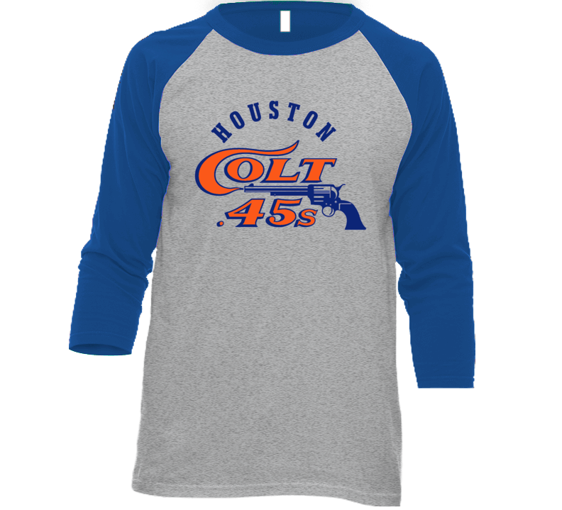 Houston Colt .45s Retro Classic Baseball Team Logo Raglan T Shirt