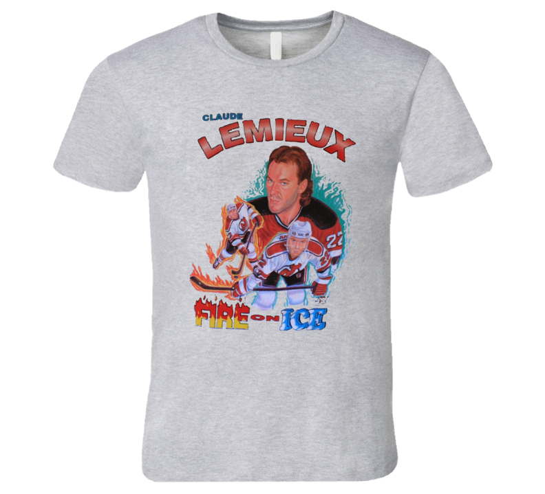 Claude Lemieux Retro New Jersey Hockey Caricature T Shirt