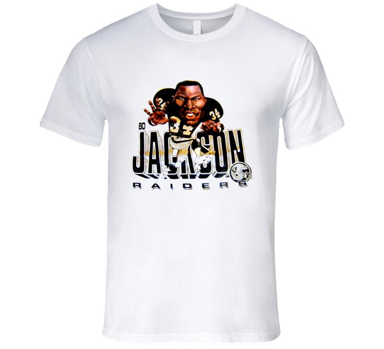 Bo Jackson Retro Bo Knows Oakland Football Caricature T Shirt