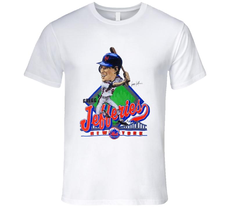 Greg Jeffries Retro Baseball Caricature New York T Shirt