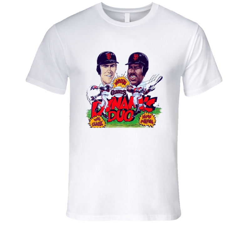 San Francisco Duo Will Clark Kevin Mitchell Retro Baseball Caricature T Shirt