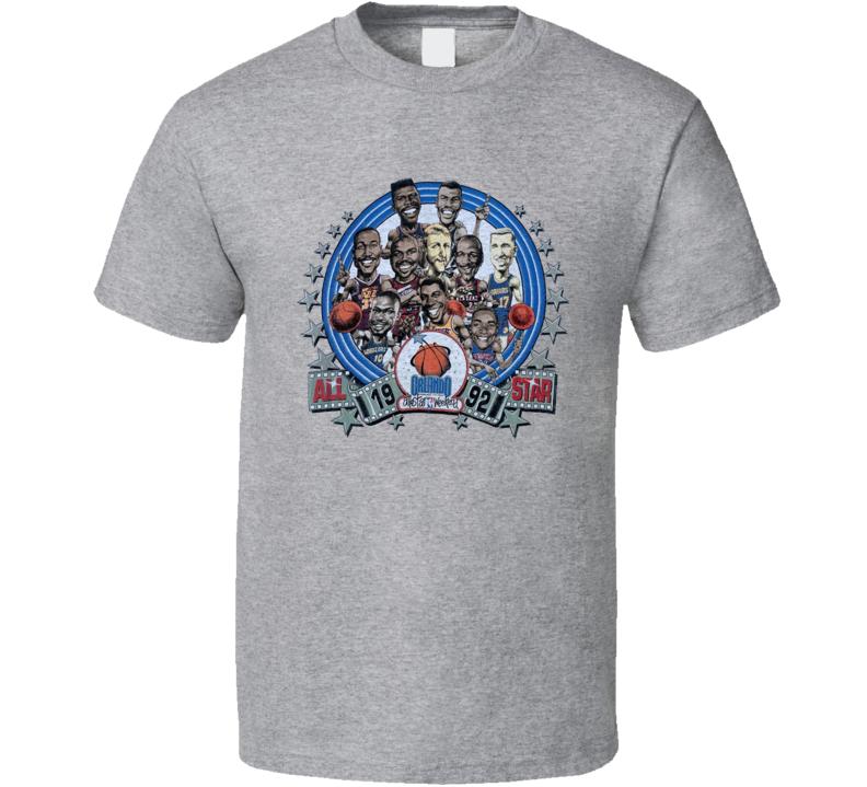 1992 Basketball All Star Game Jordan Magic Barkley Retro Caricature T Shirt