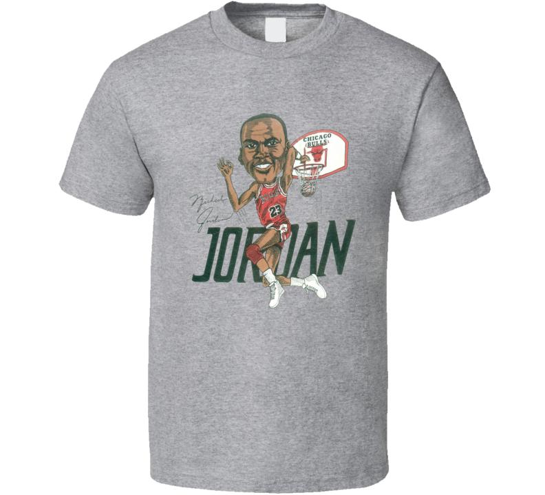 Michael Jordan Chicago 80's Retro Basketball Caricature T Shirt