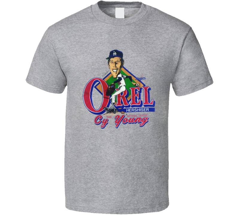 Orel Hershiser Los Angeles Cy Young Retro Caricature T Shirt