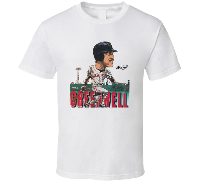 Mike Greenwell Retro Boston Baseball Legend Caricature T Shirt