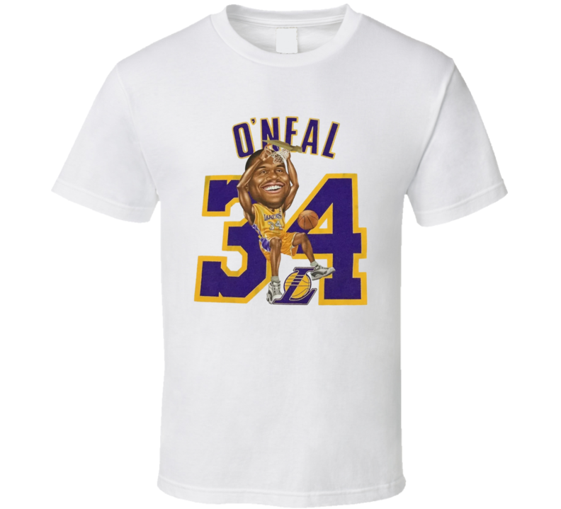 Shaquille O'neal Retro Los Angeles Basketball Legend Caricature T Shirt