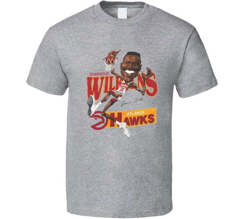 Dominque Wilkins Retro Atlanta Basketball Legend Caricature T Shirt